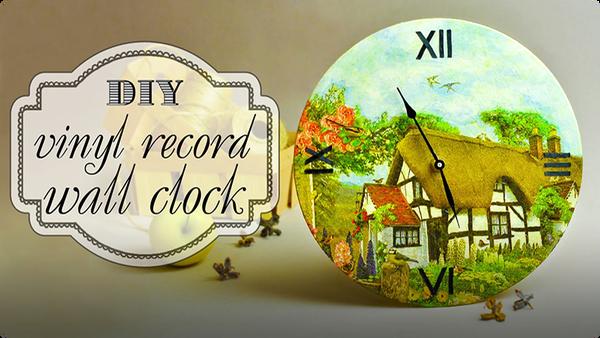 DIY Vinyl Record Wall Clock in Decoupage Technique