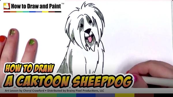 How to Draw a Cartoon Sheepdog
