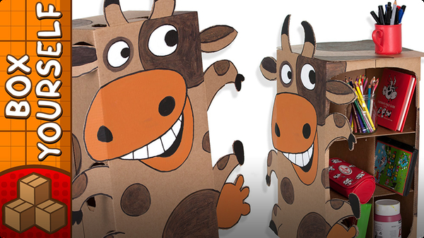 Craft Ideas with Boxes - Cardboard Cabinet Cow