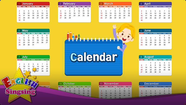 Kids vocabulary: Calendar - Months and Days