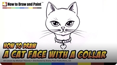 How to Draw a Cat Face with a Collar