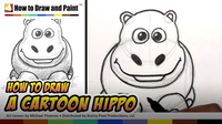 How to Draw a Cartoon Hippo