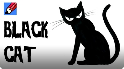 How to Draw a Black Cat for Halloween Real Easy