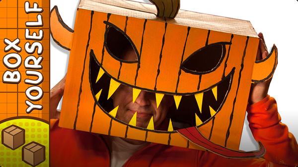 Cardboard Pumpkin Head - Halloween Crafts Ideas with Boxes