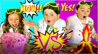 BUBBLY SLIME Vs A VOLCANO Science Experiment!