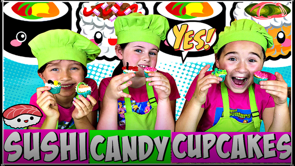 Learn How to Make Sushi Candy Cupcakes!