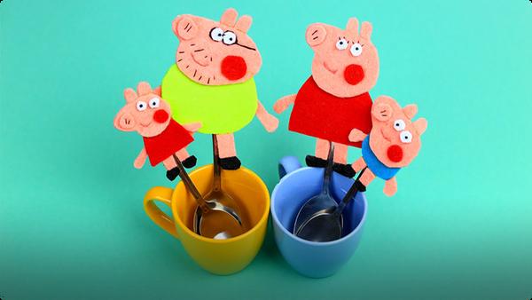 DIY Peppa Pig Family Felt Magnets