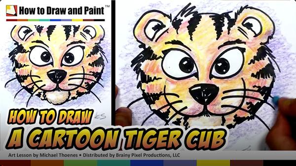 How to Draw a Cartoon Tiger Cub