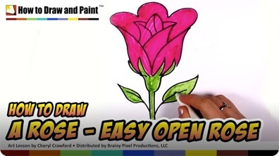 How to Draw a Rose - Easy Open Rose