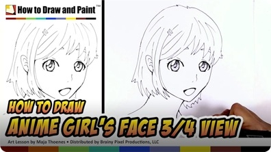 How to Draw an Anime Girl's Face in Three-Fourths View