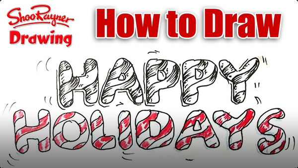 How to Draw 'Happy Holidays' in Candy Cane Lettering