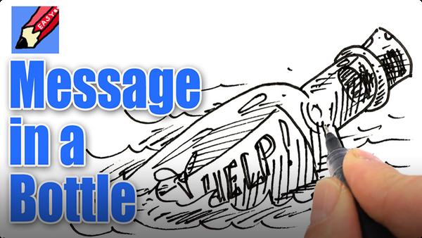 How to Draw a Message in a Bottle Real Easy