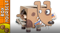 Cardboard Newspaper Puppy - Craft Ideas with Boxes