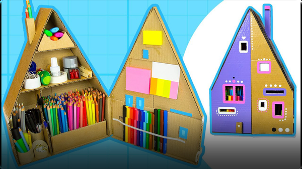 Cardboard House Desk Organizer