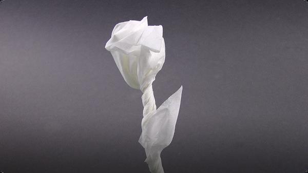 Origami Napkin Rose for Valentine's Day