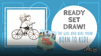 "Ready Set Draw! The Girl & Bike from ""Born to Ride"""