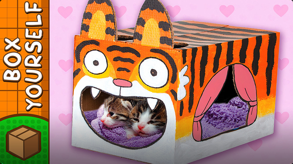Cardboard Tiger Cat House - Crafts Ideas With Boxes