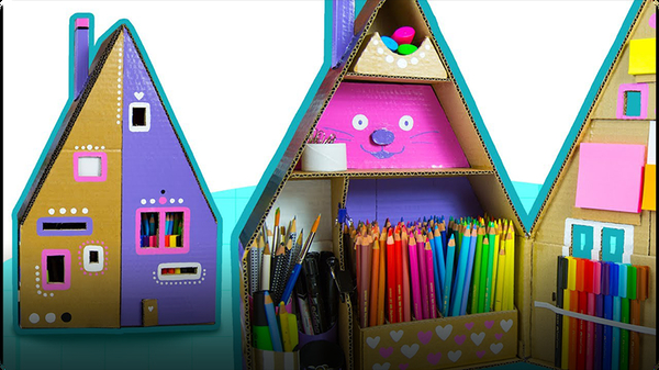 How To Paint The Cardboard House Desk Organizer