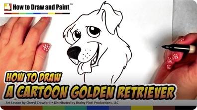 How to Draw a Cartoon Golden Retriever