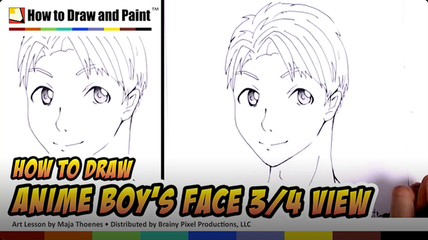 How to Draw an Anime Boy's Face in Three-Fourths View