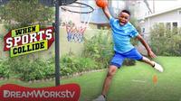 Long Jump Dunk (Basketball + Long Jump + Gymnastics)   WHEN SPORTS COLLIDE