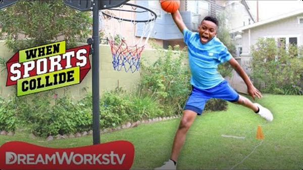 Long Jump Dunk (Basketball + Long Jump + Gymnastics) | WHEN SPORTS COLLIDE