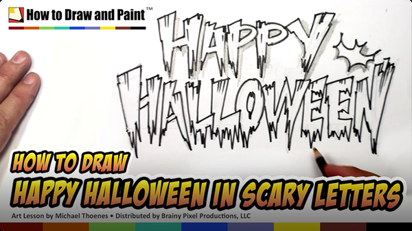 How to Draw Happy Halloween in Scary Letters
