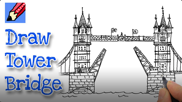 How to Draw London's Tower Bridge Real Easy