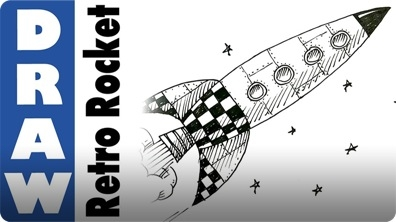 How to Draw a Retro Space Rocket