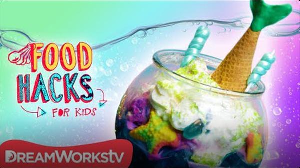 Mermaid Fishbowl Ice Cream Sundae + MORE MERMAID MUNCHIES! | FOOD HACKS FOR KIDS